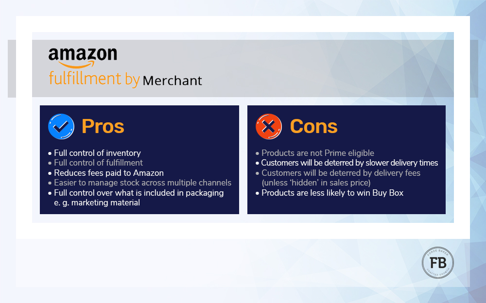 Fulfilment by Merchant Pros and Cons