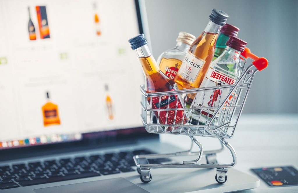 Miniature alcohol bottles in trolley