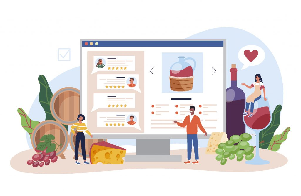 Cartoon characters buying and reviewing food and wine and alcohol online