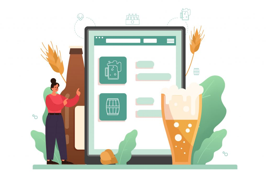 cartoon character buying alcohol online using a tablet