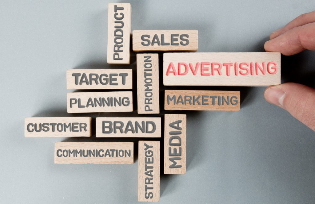Advertising and Marketing key words and jargon on building blocks